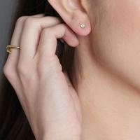 Gold Aqua Chalcedony Stud Earrings