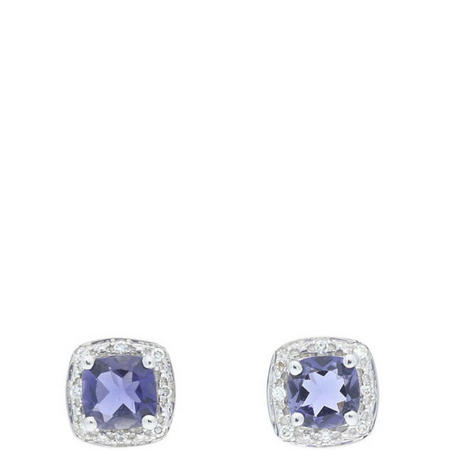 Diamond And Iolite Earrings 9ct White Gold