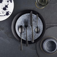 Fashion Collection Midnight 24 Piece Cutlery Set Black