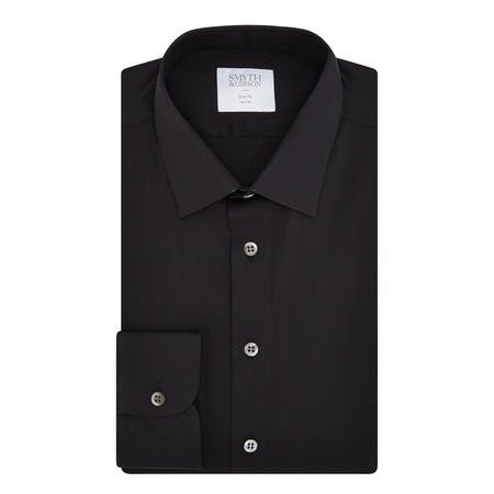 Stretch Poplin Slim Fit Formal Shirt Black