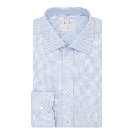 Micro-Dot Cotton Shirt Blue