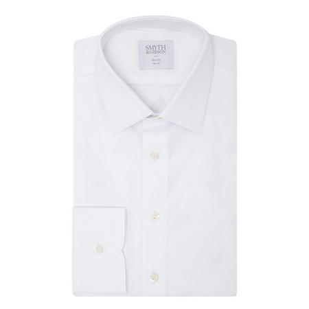 Stretch Poplin Slim Fit Formal Shirt White
