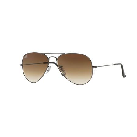 Aviator Brown Lens Large Metal Pilot Sunglasses  Grey