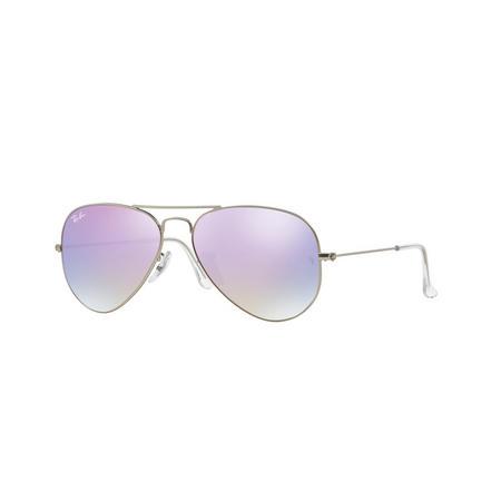 Aviator Pink Lens Large Metal Pilot Sunglasses  Silver-Tone
