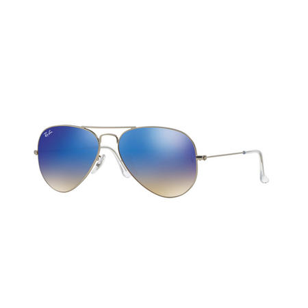 Aviator Blue Lens Large Metal Pilot Sunglasses  Silver-Tone