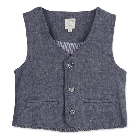 Boys Linen Waistcoat Blue