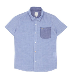 Boys Short Sleeve Striped Shirt Blue