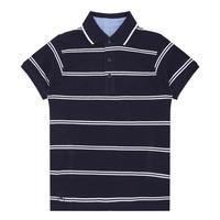 Boys Stripe Polo Shirt Navy