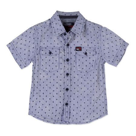 Boys Printed Short Sleeve Shirt Blue