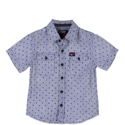 Boys Printed Short Sleeve Shirt Blue