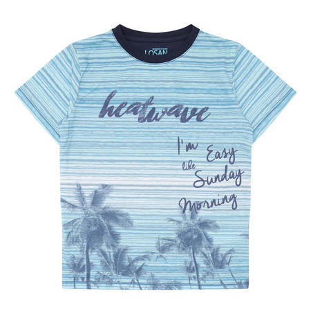 Boys Stripe & Palm Tree T-Shirt Blue