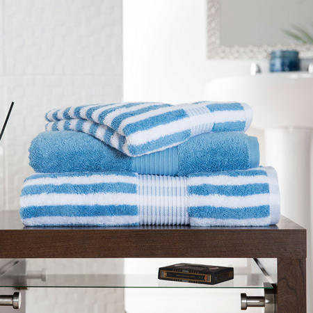 Bliss Stripe Towel Biscuit Blue