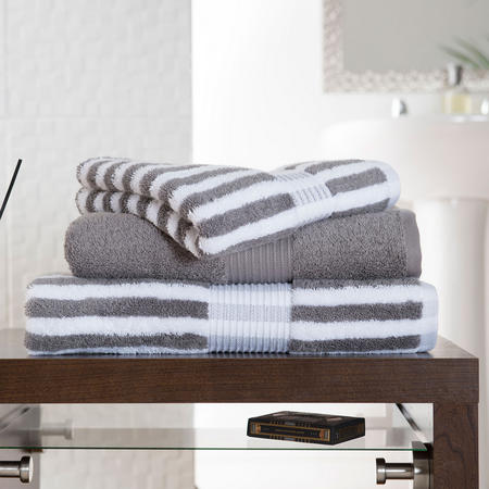 Bliss Stripe Towel Slate Brown