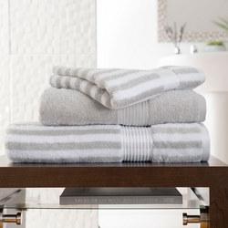 Bliss Stripe Towel Silver Silver-Tone