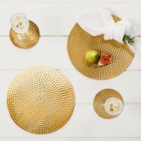 Set of 2 Flat Hammered Gold Placemats Gold-Tone