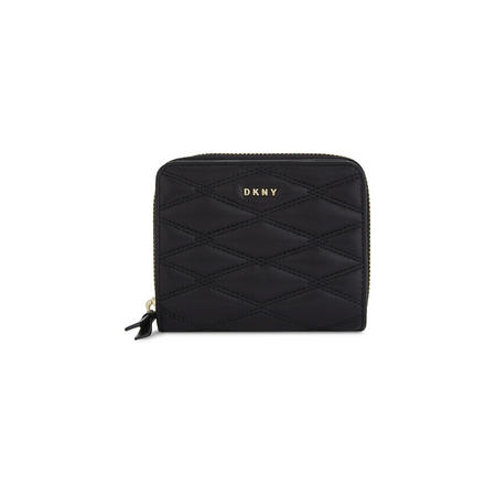 Quilted Small Zip Around Wallet Black