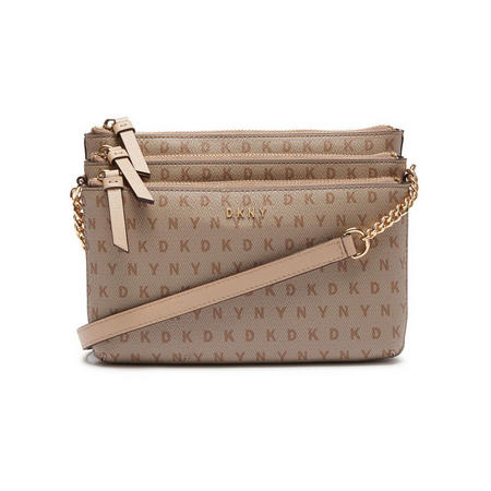Sutton Large Triple Zip Crossbody Bag Beige