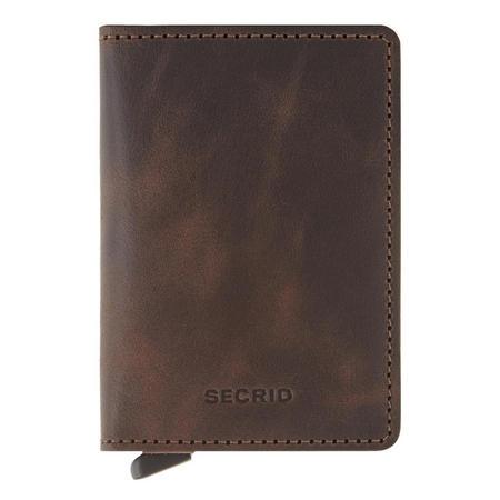 Slim Vintage Card Protector Wallet Brown