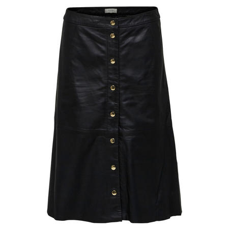 Button Front Leather Midi Skirt Black