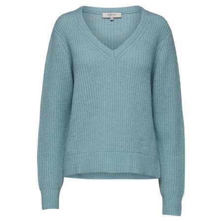 Minty V-Neck Knit Sweater Blue