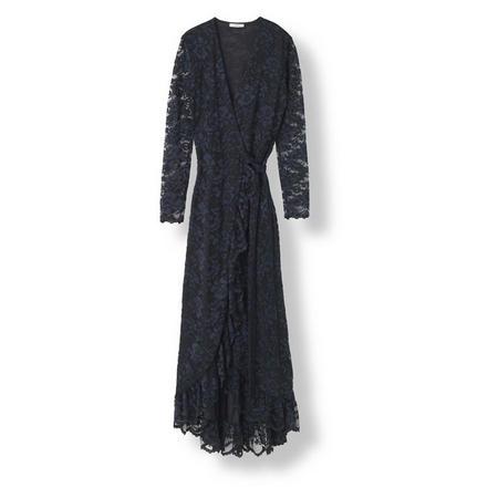 Flynn Lace Wrap Dress Black