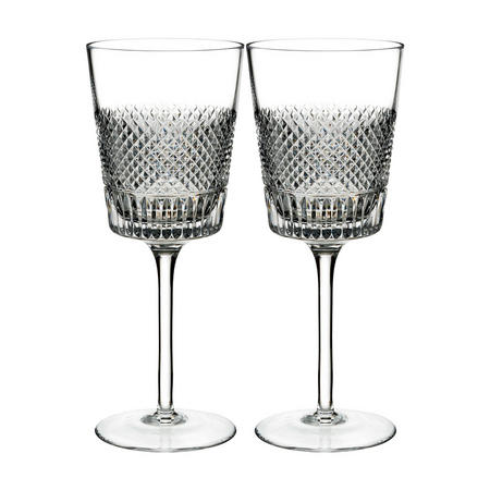 Diamond Line Wine Glass Pair Clear