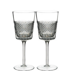 Diamond Line Wine Glass Pair Clear