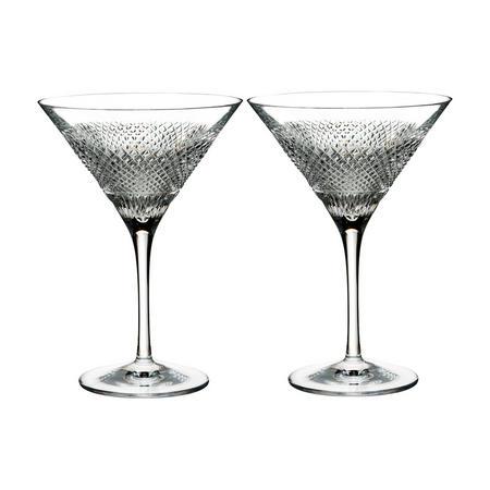 Diamond Line Martini Pair Clear
