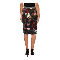 Textured Floral Pencil Skirt Multicolour