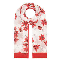 Adunco Flower Print Scarf Red