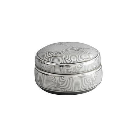 Silver Fan Deco Ceramic Trinket Box