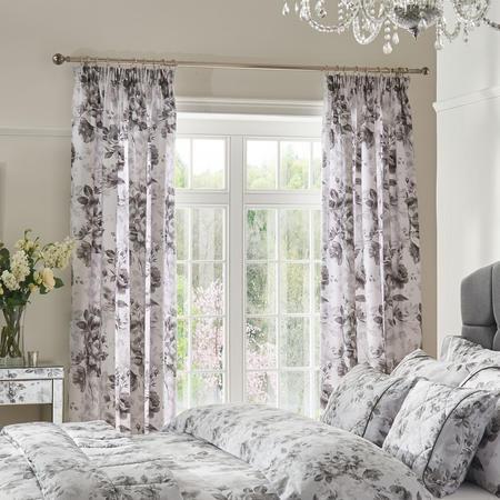 Watery Rose Curtain Grey