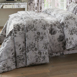 Watery Rose Bedspread Grey