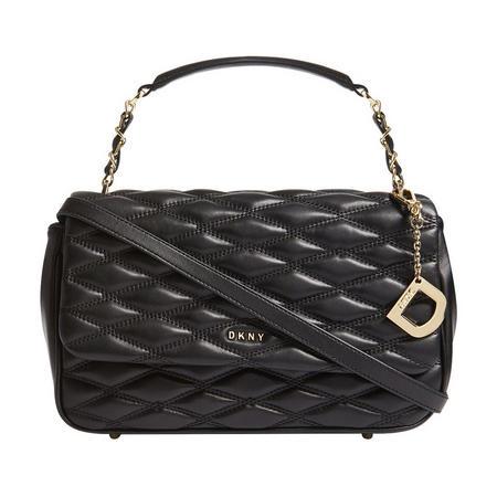 Quilted Flap Close Shoulder Bag Black