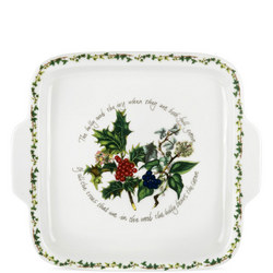 Holly And Ivy Square Handled Cake Plate Multicolour