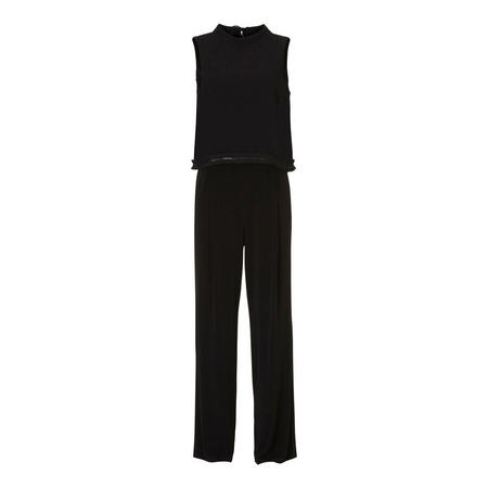 Sleeveless Sequin Trim Jumpsuit Black