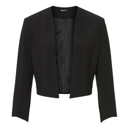 Open Front Cropped Blazer Black