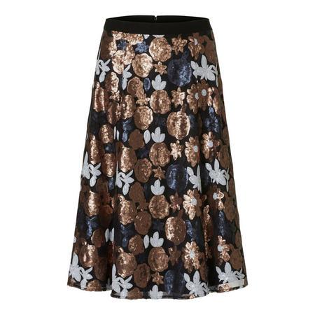 Floral Sequin Midi Skirt Black