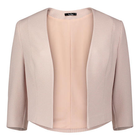 Open Front Cropped Blazer Pink