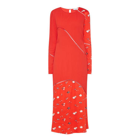 Panelled Floral Print Long Dress Red