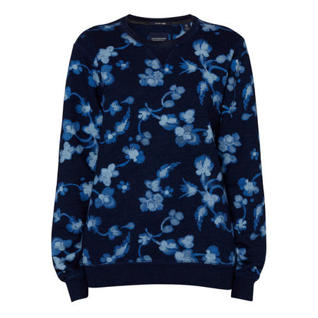 Flower Print Sweat Top Blue