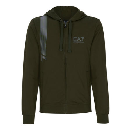 7 Lines Zip Through Sweat Top Green