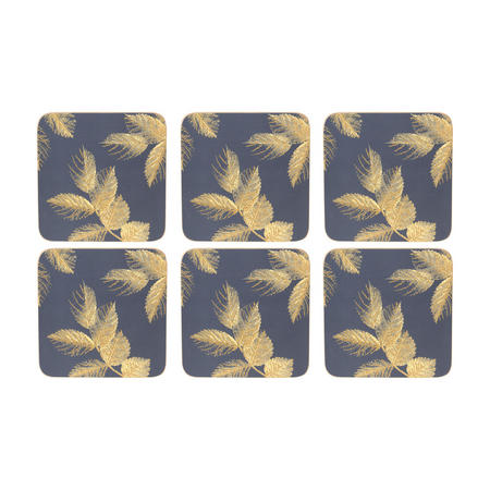 Etched Leaves Coasters Set of Six Navy