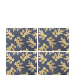 Large Etched Leaves Placemats Set of Four Navy