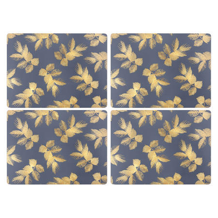 Etched Leaves Placemats  Blue