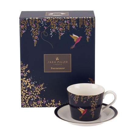 The Chelsea Collection Navy Hummingbird Tea Cup & Saucer Blue