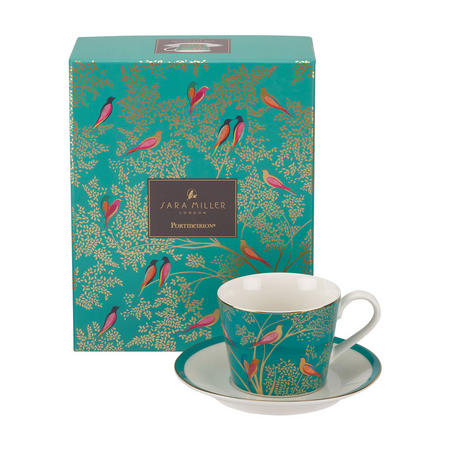The Chelsea Collection Green Birds Tea Cup & Saucer Green