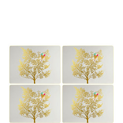 The Chelsea Collection Lovebirds Square Placemats  Grey