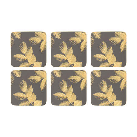 Etched Leaves Coasters Set of Six Dark Grey