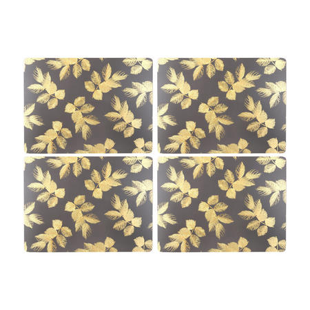 Etched Leaves Large Placemats  Grey